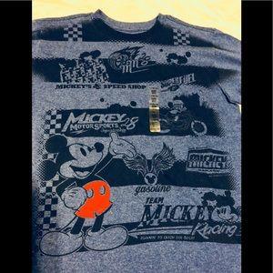 Disney Mickey Racing Boys Blue Shirt 10/12 NWT